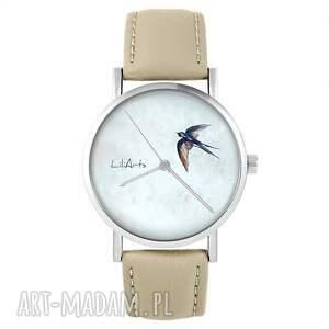 zegarki zegarek - jaskółka skórzany, beżowy, zegarek, pasek