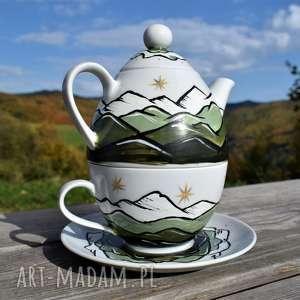filiżanka z imbryczkiem gÓry ręcznie malowane, dla miłośnika gór, górami, górski