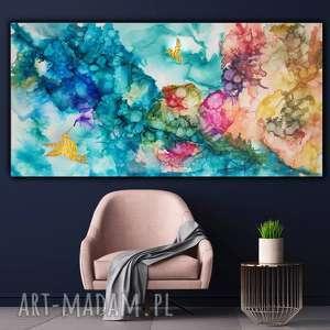 """""""Kolibry w tęczowej mgle"""" - abstrakcja na płótnie, ręcznie malowany, salon,"""