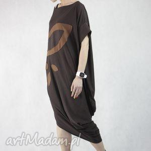 Z liściem, sukienka, bawełniana, oversize, długa, wymyślna, oryginalna