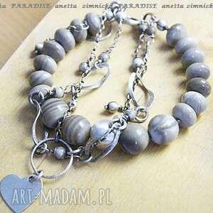 srebro, bransoletka - krzemień pasiasty z sandomierza, krzemień, serce
