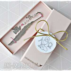 zakładka z aniołkiem - prezent okazji komunii swiętej dla dziewczynki