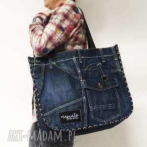 duża torba upcykling jeans 19 g-star od majunto, jeans