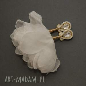 klipsy sutasz z kwiatkami, sznurek, wyjściowe, ślub, eleganckie, ślubne