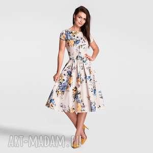 sukienka marie midi gardenia, sukienka, midi, rozkloszowana, kwiaty, lato, pasek