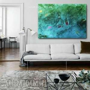 ręcznie robione dekoracje wielkoformatowe grubo fakturowane obrazy do salonu