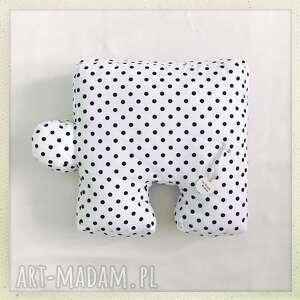 poduszka puzzel groszki - biały, czarny, kropki, puzzel