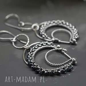 kolczyki wire wrapping ze spinelem agarwaen, srebrne, długie, wiszące, spinel