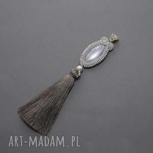 wisiorek sutasz z kyanitem, soutache, sznurek, elegancki, komplet, duży,