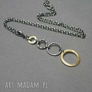 naszyjniki złoty promyczek - naszyjnik, srebro, oksydowane, pozłacane, koła