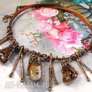 bogaty naszyjnik krople z cytrynem, kamienie cyrtyn, biżuteria