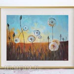 łąka dmuchawców-obraz akrylowy formatu 40/30 cm, dmuchawce, płótno, łąka