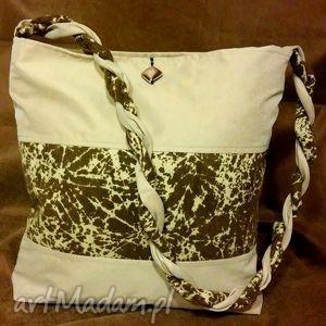 torebka z plecionym uchwytem na ramię beżowo - brązowa, torebka, plecionka, tknina