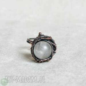 mróz - pierścionek z kwarcem trawionym, duży