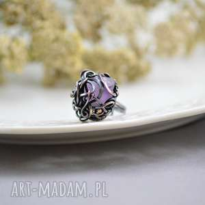violet - pierścionek z ametystem, duży, surowy ametyst, kryształ