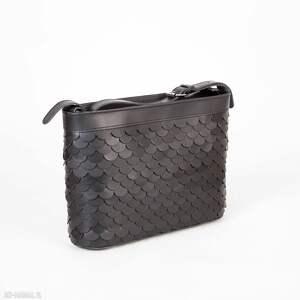 handmade na ramię torebka łuska duża czarna