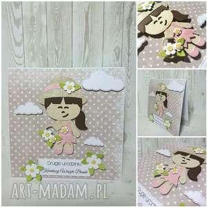 zaproszenie kartka dziewczynka z kwiatkami - ogrodnik, zaproszenie, urodziny, komunia