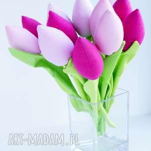 tulipany bawełniane dekoracja 12 szt, wiosna, wielkanoc, święta, bukiet, kwiaty