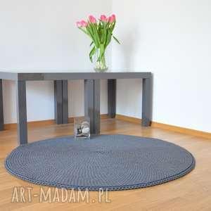dywan okrągły ze sznurka bawełnianego - ciemnoszary 100 cm, dywan, szydełko