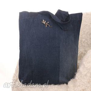 dżinsowa torba na zakupy, torba, jaszczurka, denim, jeans, ekologiczna, dżinsowa