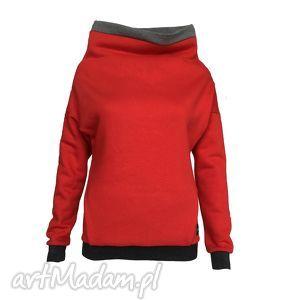 czerwona bluza z kieszonką, kominem i gumą brokatową, czerwona-bluza, guma-brokatowa