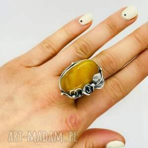 pierścionek z bursztynem bałtyckim srebro 925