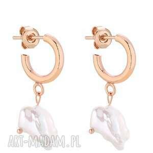 półkola s z różowego złota z naturalnymi perłami