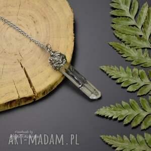 wisiorki wisiorek talizman surowy kryształ górski, wire wrapping, stal