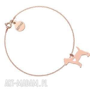 Bransoletka z różowego złota psem rasy jack russell terrier, bransoletka, pies