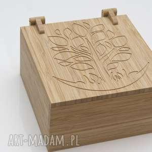 szkatułka pudełko na biżuterię z drewna bambusowego grawer, biżuteria