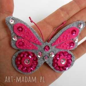 Cekinowy motyl broszka z filcu broszki tinyart filc, motyl