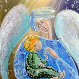 anioł stróż z dzieckiem