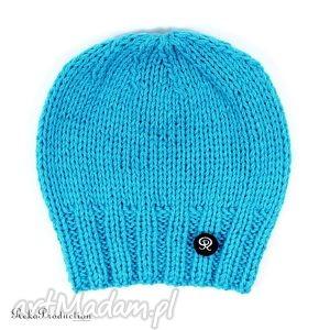 czapka przy głowie - turkusowa - głowa, zima, dziergana, czapka, unisex