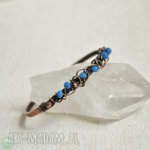 hand-made niebieska elegancja - bransoletka miedziana