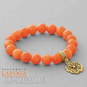 Jade with pendant in orange. - ,jadeit,zawieszka,kwiatek,