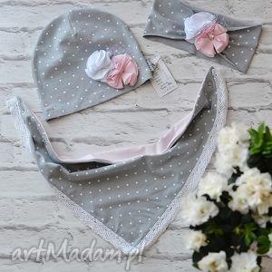 cienki wiosenny komplet dla dziewczynki czapka, komin, opaska - czapka, opaska, komin