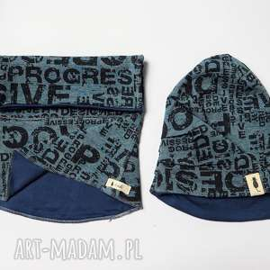 ręczne wykonanie ubranka komplet czapka & komin napisy