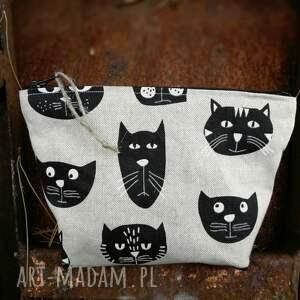 kosmetyczka lniana koty, kosmetyczka, kotki, kot, saszetka, organizer