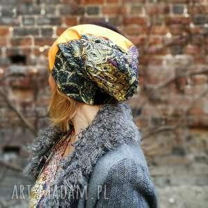 czapka patchwork wiosna etno boho damska, czapka, etno, boho, kolorowa,