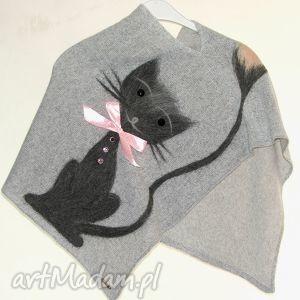 Prezent Ponczo dla dziewczynek wełną zdobione, koty, filcowanie, wełna, prezent