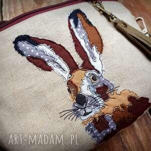 nerki nerka xxl zając, lniana, haftowana, torebka, królik, las