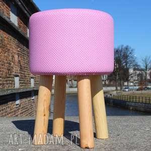 Pufa Białe Igiełki - 45 cm, puf, pufa, taboret, stołek, hocker,