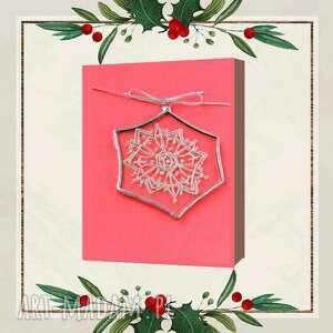 kartki kartka świąteczna 3d z witrażowym płatkiem śniegu 3, życzenia