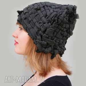 ręcznie zrobione czapki czapka tkana grafitowa
