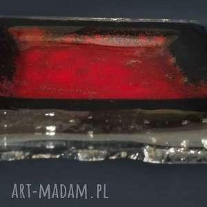 szkło patera szklana mała czerwona magma, dekoracja, szklana
