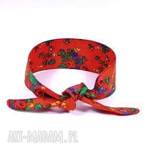 ręcznie wykonane opaski opaska pin up folkowa czerwona