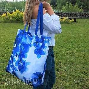 handmade na ramię plażowa duża torba w niebieskie kwiaty