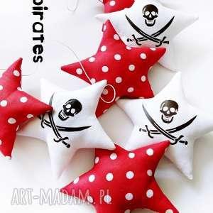 PIRATES w czerwieni - girlanda, pirat, gwiazdka, gwiazdki