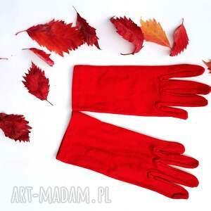 ręcznie wykonane rękawiczki czerwone dzianinowa krótkie one size