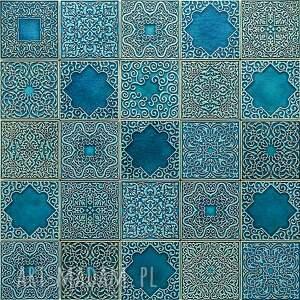 ceramika kafle turkusowe arabeski zestaw i, kafle, dekory, płytki, ścienne, kuchnia